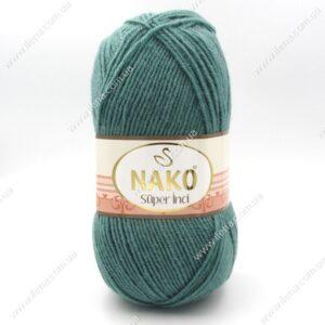 Пряжа Nako Super inci зеленая бирюза 4756