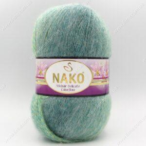 Пряжа Nako Mohair Delicate Colorflow зеленая бирюза 28086