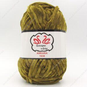 Пряжа плюшевая Анкара темно-оливковый