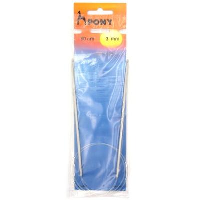 Циркулярный крючок для вязания Pony 46905 металлический с тефлоновым покрытием 3 мм 80 см