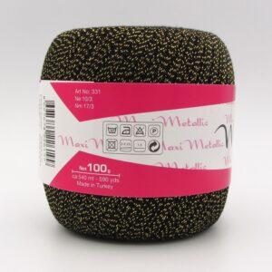 Пряжа Madame Tricote Maxi Metallik 2999 черный с люрексом золото