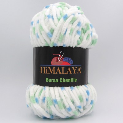 Пряжа плюшевая Himalaya Bursa Chenille белый-мята-голубой