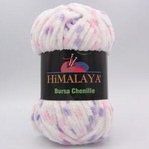 Пряжа Himalaya Bursa Chenille белый-розовый-сирень