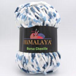 Пряжа плюшевая Himalaya Bursa Chenille белый-синий-голубой