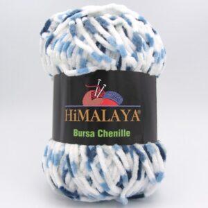 Пряжа Himalaya Bursa Chenille белый-синий-голубой