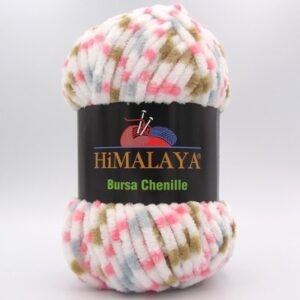 Пряжа Himalaya Bursa Chenille белый-серый-розовый-беж