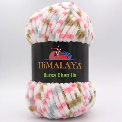 Пряжа плюшевая Himalaya Bursa Chenille белый-серый-розовый-беж