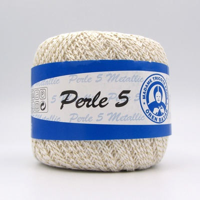 Пряжа Madame Tricote Perle 5 0023 молочный металлик