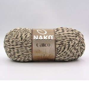 Пряжа Nako Calico 21300 черно-бежевый