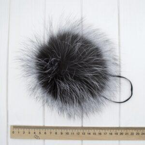 Меховый помпон чернобурка 16-19 см