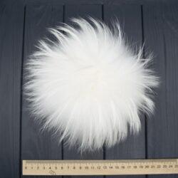 Меховый помпон енот белый 21 см