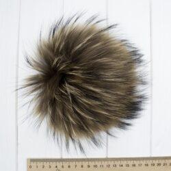 Меховый помпон енот натуральный 16-19 см