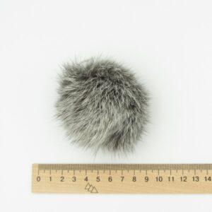 Меховый помпон кролик 5-7 см серый