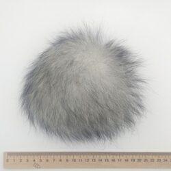 Меховый помпон песец 13-16 см серый с черным
