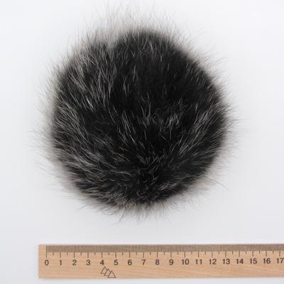 Меховый помпон песец 12-14 см черно-серый