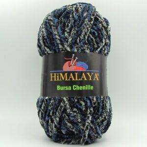 Пряжа плюшевая Himalaya Bursa Chenille сине-черный рябой