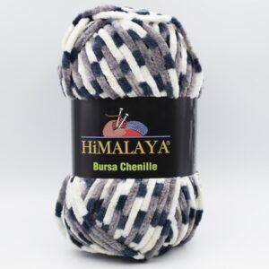 Пряжа плюшевая Himalaya Bursa Chenille серый-белый-синий