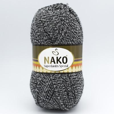 Пряжа Nako Superlambs Special 3086 черно-белый