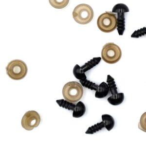 Глазки для игрушек на винте черный пластик 8 мм пара
