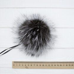 Меховый помпон чернобурка 13-16 см