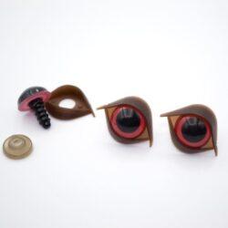 Глазки для игрушек 14 мм красные с веком