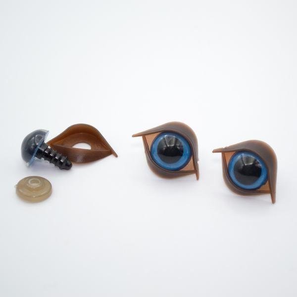 Глазки для игрушек 14 мм синие с веком