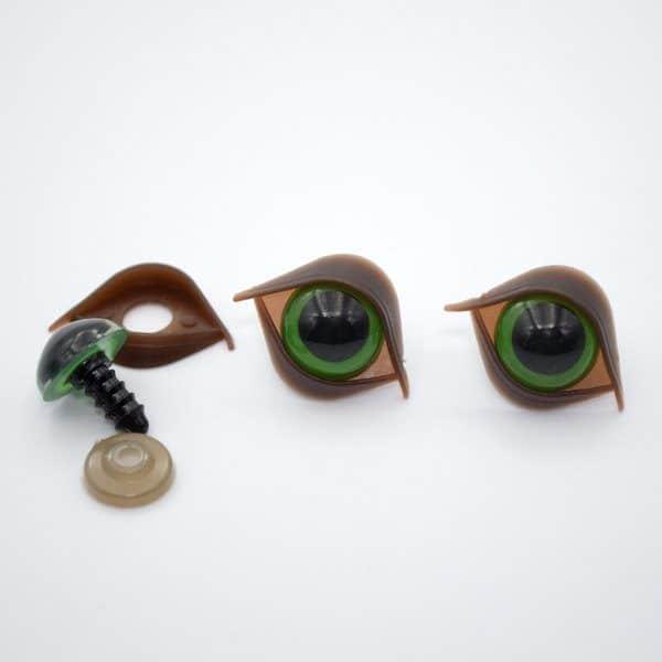 Глазки для игрушек 14 мм зелёные с веком