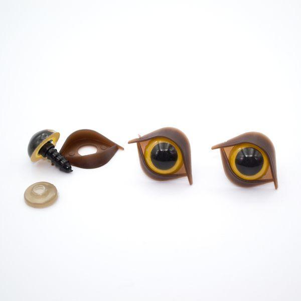 Глазки для игрушек 14 мм желтые с веком