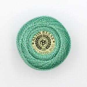Пряжа Altin Basak Ирис хлопок 1333 зеленый люрекс серебро