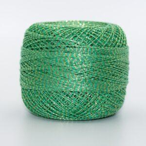Пряжа Altin Basak Ирис хлопок 2333 зеленый люрекс золото