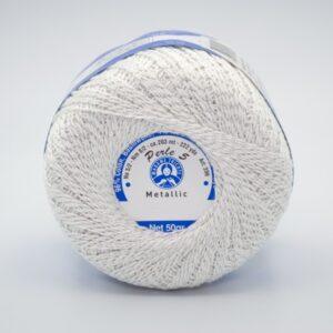 Пряжа Madame Tricote Perle 5 0013 белый металлик