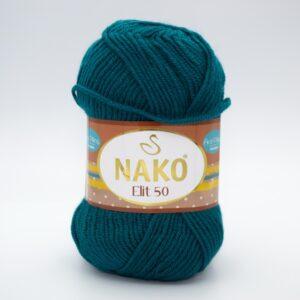 Пряжа Nako Elit 50 1782 темно-зеленая бирюза