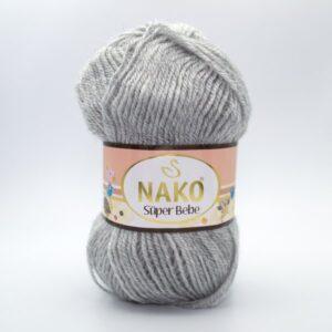 Пряжа Nako Super Bebe 195 светло-серый