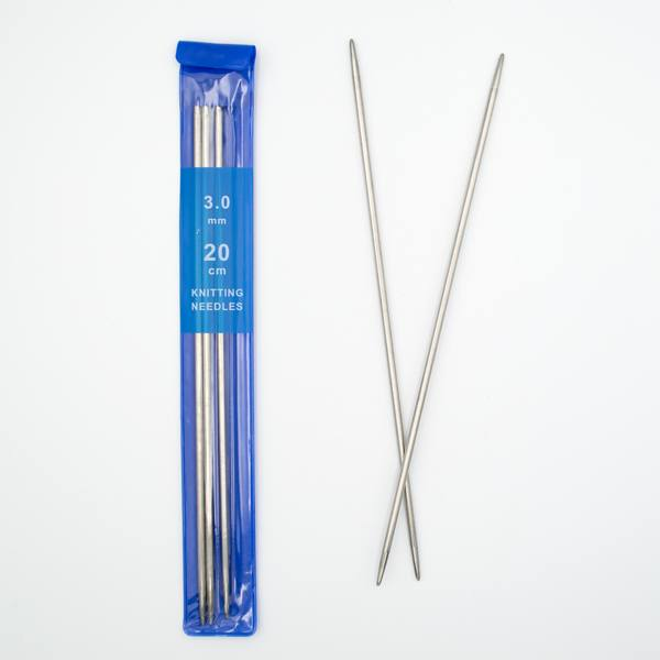 Спицы для вязания носочные 3 мм 20 см металлические