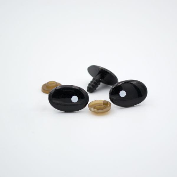 Глазки для игрушек овальные с белым зрачком 20*13 мм пара