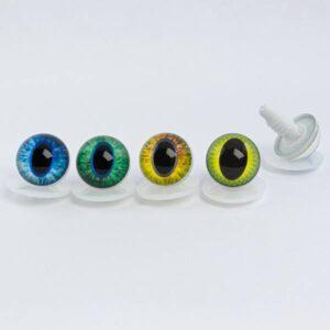Живые глазки для игрушек с узким зрачком желтые с чешуйной радужкой