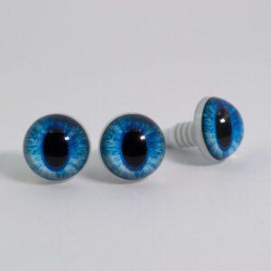 Живые реалистичные глазки для игрушек с узким зрачком голубые