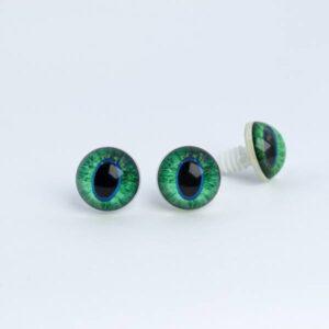 Живые реалистичные глазки для игрушек с узким зрачком зеленые