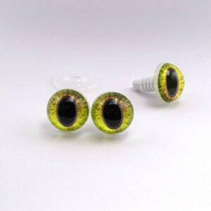 Живые реалистичные глазки для игрушек с узким зрачком желтые