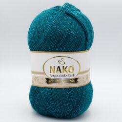 Пряжа Nako Angora Luks Simli 10171 темно-зеленый малахит