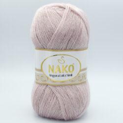 Пряжа Nako Angora Luks Simli 318 нежно-сиреневая пудра