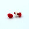 Бархатный флокированный носик для игрушек треугольный красный 11779