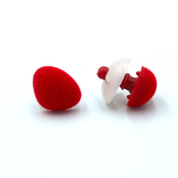 Бархатный флокированный носик для игрушек треугольный красный