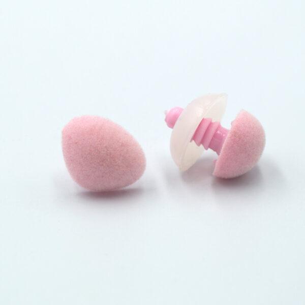 Бархатный флокированный носик для игрушек треугольный розовый