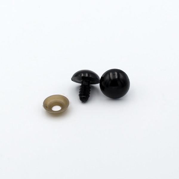 Глазки для игрушек на винте черный пластик 16мм пара