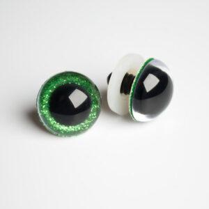 Глазки для кукол и игрушек блестящие глиттерные зеленые