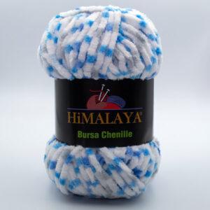 Пряжа плюшевая Himalaya Bursa Chenille белый-серый-бирюза-голубой