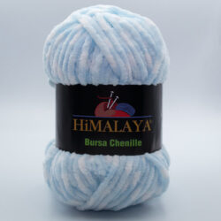 Пряжа плюшевая Himalaya Bursa Chenille белый-нежно-голубой