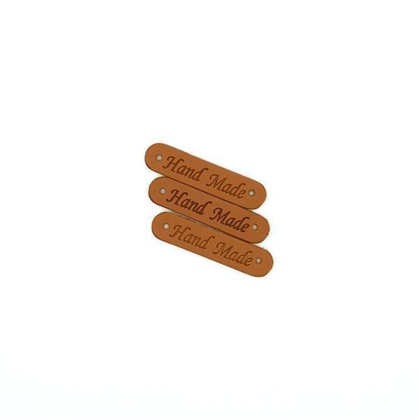 Нашивка кожаная 35×8 mm Hand Made коричневая