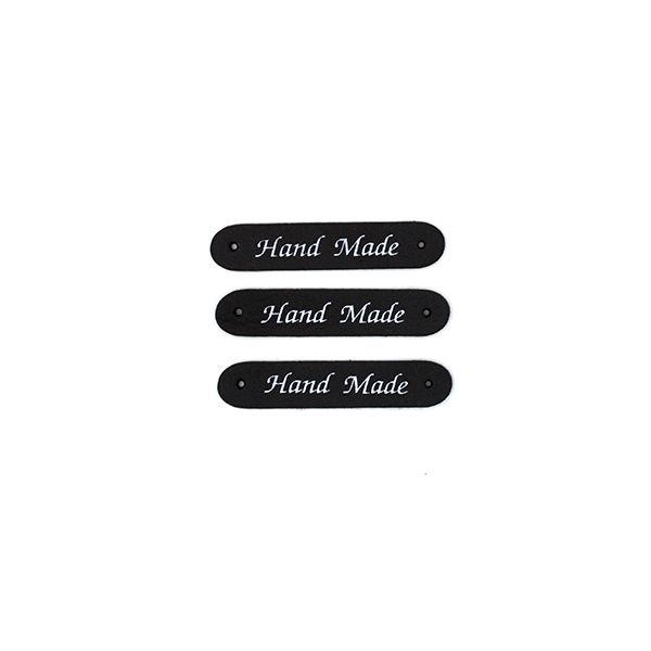Нашивка кожаная 50×10 mm Hand Made черная